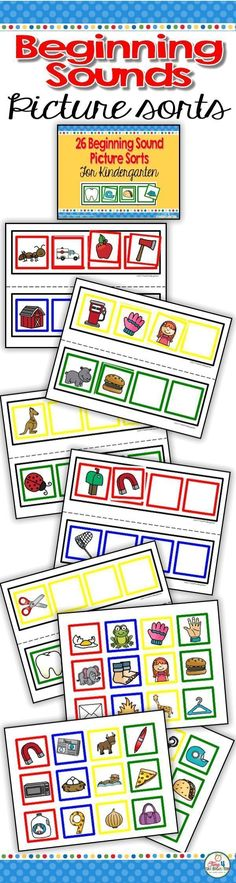 First Sound Picture Sort- initial sound recognition for Pre-k, Tk and kindergarten. Add this to your literacy centers to help students understand the concept of first sounds. Build phonemic awareness and strengthen phonics skills. Great for RTI and intervention groups. Help prepare for Dibbles. Use for early finishers.