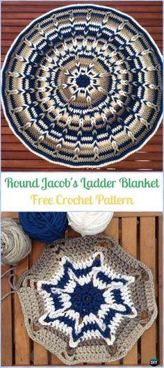 Crochet Round Jacob's Ladder Baby Blanket/Mat Free Pattern-Crochet Circle Blanket Free Patterns