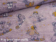 Lillestoff Stretchjersey Waterproof Sweat Organic Cotton Boardercross, Purple / Mustard by Susalabim von BloorWestFabrics auf Etsy