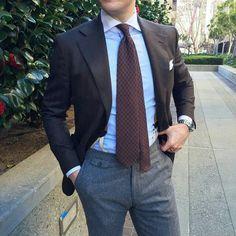 beckettrobb: Separates by Beckett & Robb. Brown Tie, Mens Attire, Fashion Updates, Dapper, Gentleman, Suit Jacket, Menswear, Beige, Grey