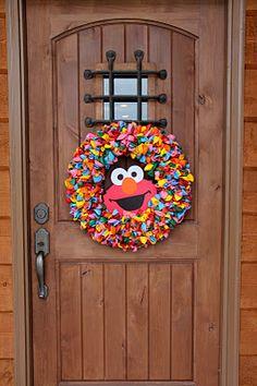 Wreath for Kids Elmo Party Nadeau Nadeau Epps Gb Elmo Birthday, Dinosaur Birthday, Boy Birthday Parties, Dinosaur Party, Birthday Ideas, Unicorn Party, Sesame Street Party, Sesame Street Birthday, Elmo Party