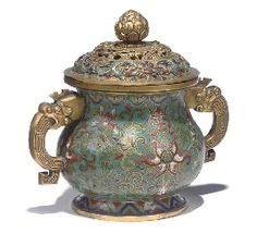 A CHINESE CLOISONNÉ ENAMEL TWO-HANDLED CENSER AND COVER, 18TH CENTURY, FROM THE COLLECTION OF H.R.H. THE PRINCE HENRY, DUKE OF GLOUCESTER KG, KT, KP.