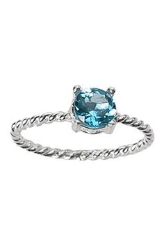 Sterling Silver Twisted Wire Round Aqua Marine Ring