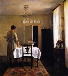 Artist's Wife Setting the Table - Carl Vilhelm Holsøe (Danish , 1863-1935)