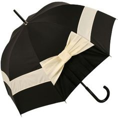 Pleated Bow Umbrella in Black and Ivory by Chantal Thomass