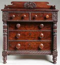 This miniature (19½ x 16¾ x 9¼) carved Classical chest of drawers, circa 1810, Salem, Massachusetts, sold for $ 12,400 (est. $ 3000/6000). The carving and punchwork decoration including fruit and a basket is characteristic of the Samuel McIntire (1757-1811) school, known for featuring baskets of fruits and flowers. No two McIntire baskets are identical. Country Furniture, Unique Furniture, Painted Furniture, Miniature Furniture, Dollhouse Furniture, Art Nouveau, Old Tool Boxes, Small Dresser, Antique Market