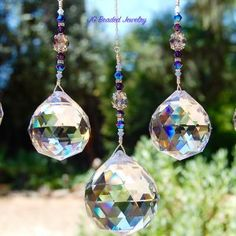 Suncatcher Crystal Prisms in 4 sizes! Hang in front of a sunny window and bring on the rainbows! #suncatchers