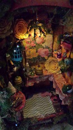 Whimsical Honey Room OOAK Musical Handmade Fairy house with Light Fairy Land, Fairy Tales, Fairy Village, Fairy Furniture, Gnome House, Fairy Garden Houses, Fairy Doors, Miniature Fairy Gardens, Fairy Lights