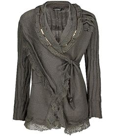 Forla Paris Wrap Lace Cardigan Sweater