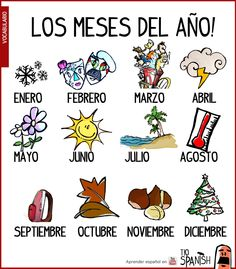 Basic English vocabulary, Months of the year. English for beginners Preschool Spanish Lessons, Spanish Teaching Resources, Spanish Activities, Spanish Language Learning, Spanish Help, Learn Spanish Online, Learning English Online, Spanish Teacher, Spanish Classroom