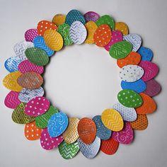 Make an aluminum can Easter Egg Wreath @savedbyloves #sizzix #DistressPaint: