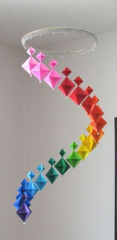 Origami mobile by strongfeather ... spirals downward in rainbow array o colors ...