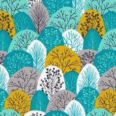 133603 Spring Woodland | Turquoise Quilter's Cotton from First Light by Eloise Renouf for Cloud9 Fabrics