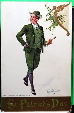 Patrick's day Vintage postcard Irish guy dressed in Green Costume by JerryBurton on Etsy