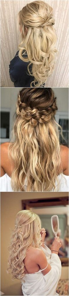 I think I'll do a half-up / half-down hair style for our upcoming wedding #weddinghairstyles