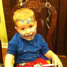 What could be crazier than a two-year-old boy covered in cake??