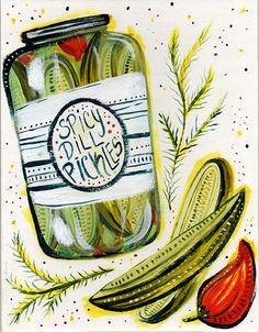 Spicy Dill Pickles Acrylic Grace O'Neill