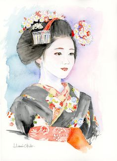 Lovely aquarell paintings of Katsuna-san of Kamishichiken Geisha Kunst, Geisha Art, Japanese Drawings, Geisha Drawing, Art Asiatique, Japanese Trends, Japanese Embroidery, Japan Art, Scrappy Quilts