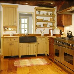Yellow walls of the trendy country kitchen open up shelf ideas Kitchen Redo, New Kitchen, Kitchen Dining, Kitchen Remodel, Kitchen Yellow, Maple Kitchen, Cozy Kitchen, Kitchen Utensils, Kitchen Ideas