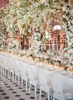 Held at a French Chateau outside of Paris, this dream destination wedding is a mash up of couture gown with a 30 foot train, a horse drawn carriage and the most stunning reception we've ever come acro. Wedding Table Centerpieces, Wedding Flower Arrangements, Wedding Table Settings, Flower Bouquet Wedding, Wedding Decorations, Floral Arrangements, Bridal Bouquets, Parisian Wedding, Chic Wedding