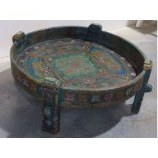 Old Indian Painted Grinding table in love!!!
