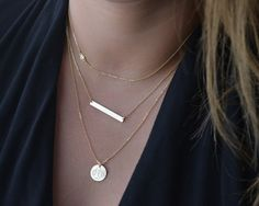 Layered Necklace Set, Delicate Gold Layered Necklaces, CZ Diamond Necklace on Etsy Layered Necklace Set, Gold Bar Necklace, Monogram Necklace, Leaf Necklace, Diamond Pendant Necklace, Simple Necklace, Gold Necklaces, Diamond Necklaces, Layering Necklaces