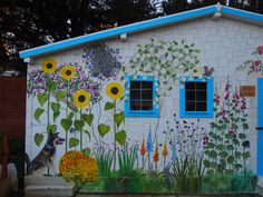 'Rose Cottage' Outdoor Mural in Care Home Garden Garden Fence Art, Garden Mural, Garden Painting, Dog Garden, Fence Painting, Painted Garden Sheds, Painted Shed, Outdoor Wall Art, Outdoor Walls