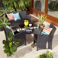4 Piece Wicker Look Conversation Set Black Outdoor Backyard Table and Chair New Kmart Patio Furniture, Clearance Outdoor Furniture, Outdoor Furniture Covers, Modern Outdoor Furniture, Garden Furniture Sets, Furniture Ideas, Rustic Furniture, Outdoor Tables And Chairs, Patio Table