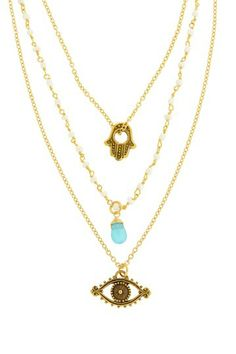 3db72a94176 Triple Layer Evil Eye Necklace by LEILA on  HauteLook Small Necklace