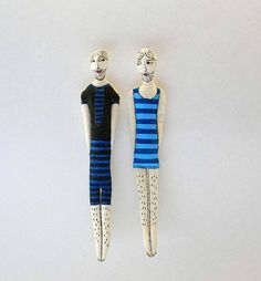 Set of TWOTextile OrnamentsCouple of Swimmers in blue