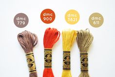 DMC Color Combo: Fall Festival by wildolive Dmc Embroidery Floss, Ribbon Embroidery, Embroidery Patterns, Cross Stitch Thread, Cross Stitch Embroidery, Cross Stitch Patterns, Diy Bracelets Patterns, Friendship Bracelet Patterns, Friendship Bracelets