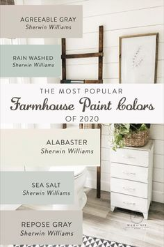 what color do you like between these 5 colors? 1). agreeable gray 2). rain washed 3). alabaster... visit my website to see more... #farmhousecolor #interiorcolors #farmhouseinteriorcolor #farmhousepainting #farmhousestyle #farmhouseideas Paint Color Schemes, Grey Paint Colors, Interior Paint Colors, Paint Colors For Home, Neutral Paint, Gray Paint, Paint Colors Master Bedroom, Paint Colors For Bathrooms, Paint Colors With White Trim