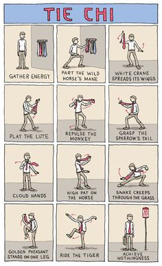 """Tie Chi"" is a comic on Incidental Comics by Grant Snider that demonstrates how to tie a tie using martial arts (Tai Chi)."