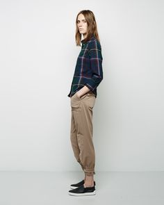 Band of Outsiders / Cropped Sleeve Plaid Shirt Band of Outsiders / Slouchy Patchwork Chino Rag & Bone / Kent Slip-On #pf14