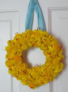 I was looking for things to do with all the chenille chicks I've accumulated over the years…easter chick wreath,really cute idea kids could make mini ones too