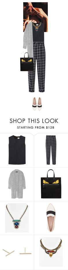 """""""Outfit of the Day"""" by wizmurphy ❤ liked on Polyvore featuring Victoria, Victoria Beckham, Elizabeth and James, By Malene Birger, Fendi, DANNIJO, Kate Spade, J.Crew, ootd and pinstripes"""