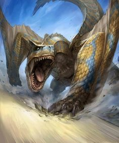 Tigrex Discussion Tigrex are Flying Wyverns introduced in Monster Hunter Freedom Monster Hunter Freedom 2, Monster Hunter Series, Monster Hunter Art, Weird Creatures, Magical Creatures, Fantasy Creatures, Kraken, Monster Hunter Rathalos, Sience Fiction