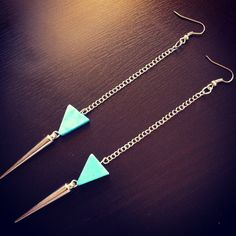 Arrowhead & Spike Dangle Earrings. $12.00, via Etsy. Love, love, love turquoise and spikes.