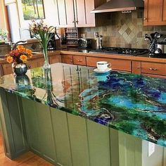 Photos of beautiful, seamless Epoxy Countertops Making Concrete Countertops, Resin Countertops, Kitchen Countertops, Countertop Kit, New Kitchen, Kitchen Decor, Kitchen White, Resin Furniture, Luxury Furniture