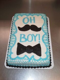 Tie and mustache Boy baby shower cake