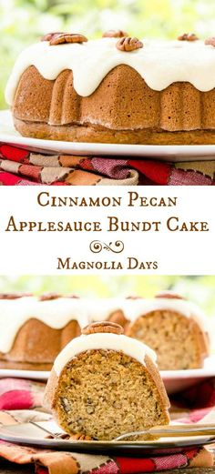 Cinnamon Pecan Applesauce Bundt Cake with Browned Butter Glaze. It's nicely spiced with a nutty crunch and touch of apple flavor. (Apple Butter Cupcakes)