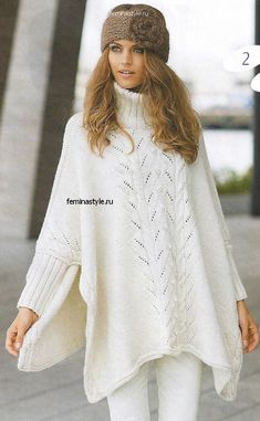 Poncho - Dale Garn - kit kan købes her. Klar til levering Poncho Shawl, Crochet Poncho, Knitted Shawls, White Poncho, Long Sweaters, Hand Knitting, Boho Fashion, Knitwear, Knitting Patterns