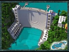 Lake Iliamna Dam Minecraft World Save Minecraft Castle, Minecraft City, Minecraft Plans, Amazing Minecraft, Minecraft Construction, Minecraft Tutorial, Minecraft Blueprints, Minecraft Storage, Minecraft House Designs