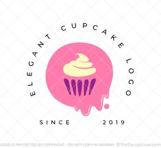 The logo can be used by Bakeries, Desert brands, Baking schools, Pastry shops. Design Shop, Logo Design, Cupcake Logo, Elegant Cupcakes, Logo Branding, Logos, Stationary Design, Pastry Shop, Logo Maker
