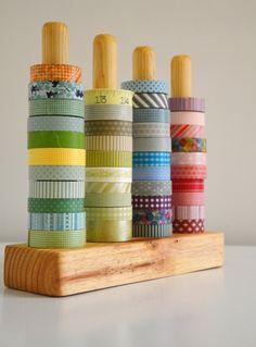 Washi Tape Organizer - Wood Masking Tape Holder - Eco friendly Japanese Tape Dispenser for 48 rolls - coworkers gift. $45.00, via Etsy.