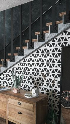 With this Abelone Scandinavian Wall Stencil, you can effortlessly fresh up any interior. The classic, simple and super-trendy pattern stencil using a contrast color scheme will create a stunning accent on your walls! - Home Decor - Home Style And Powder Room Design, Modern Stairs, Interior Stairs, Staircase Design, Wall Patterns, Stairways, Color Schemes, Interior Decorating, Decorating Ideas
