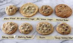 The Ultimate Guide to Chocolate Chip Cookies. What questions do you have about chocolate chip cookies? Do you prefer soft or crisp, chewy or cakey, thin or thick cookies? Delicious Desserts, Dessert Recipes, Yummy Food, Dessert Bars, Tasty, Yummy Eats, Drink Recipes, Baking Soda Baking Powder, Perfect Chocolate Chip Cookies