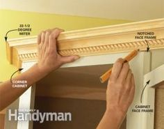 Add molding to cabinets Photo 1: Position and mark the molding