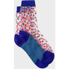 Paul Smith Women's Indigo And Slate Blue Sheer Polka Dot Socks (490.860 VND) ❤ liked on Polyvore featuring intimates, hosiery, socks, indigo, multi color socks, multicolor socks, paul smith, sheer polka dot socks and sheer socks