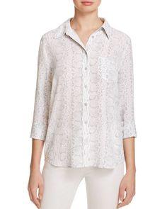 Equipment Brett Python Print Silk Shirt